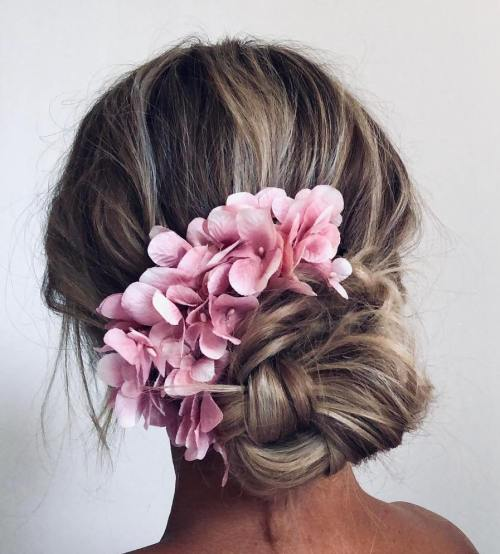Boho Bun With Flower Hair Accessories