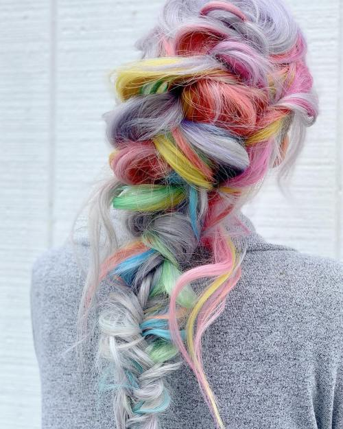 Pastel Unicorn Fishtail Braid