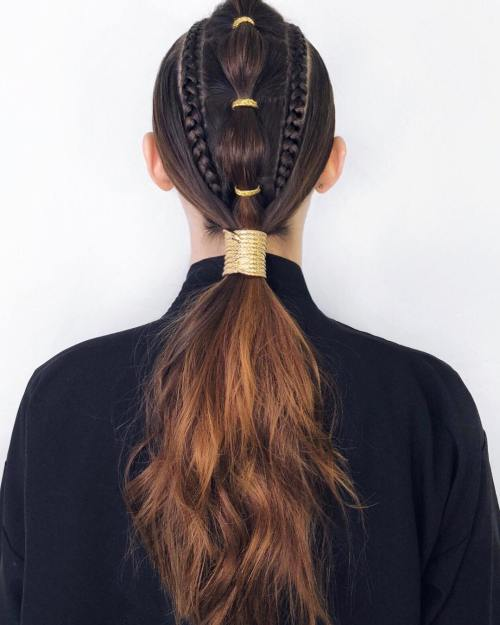 Long Pony With Braids and Gold