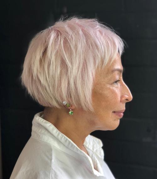 Plus Pastel Pink Layered Bob