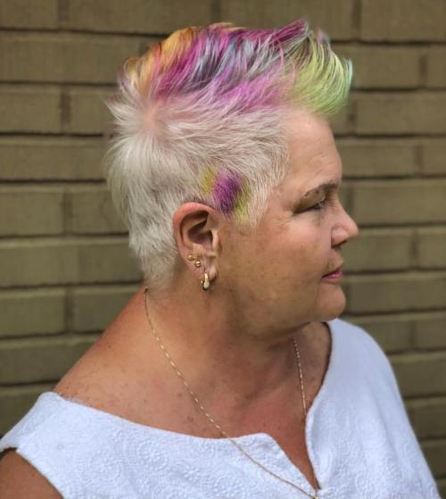 Spiky Colored Cut For Older Women