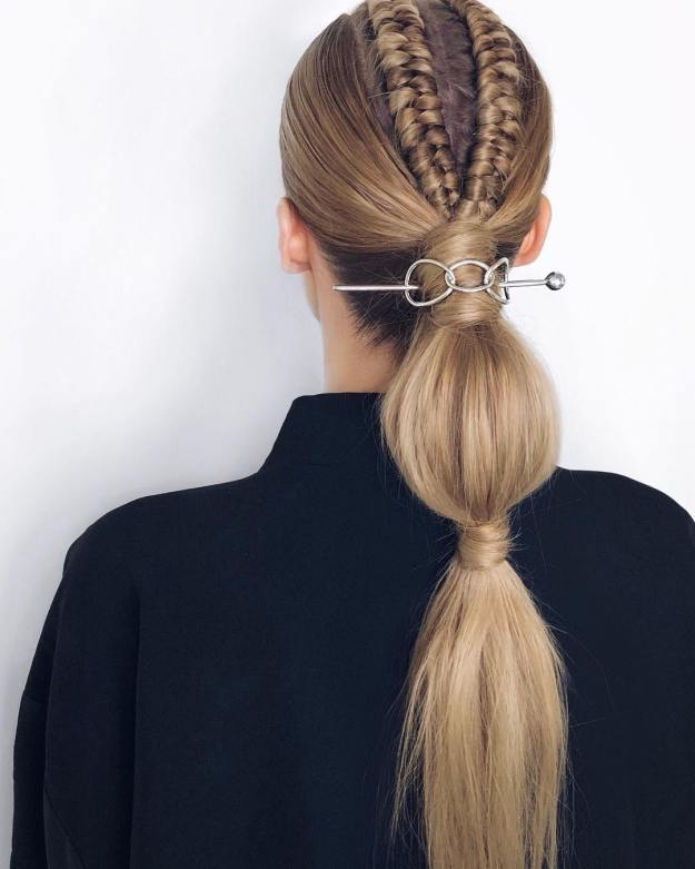 Graded Ponytail With A Butterfly Clasp