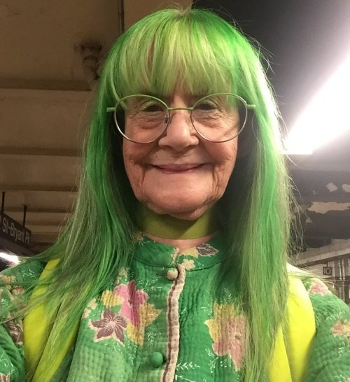 Long Green Hair With Full Bangs