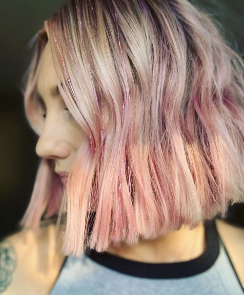 Pastel Pink Bob With Tinsel
