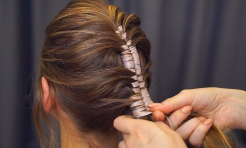 Ribbon Mohawk Braid: Step 4