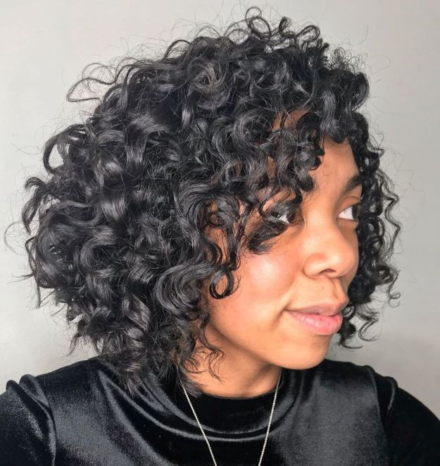 Angled Curly Bob For Black Hair