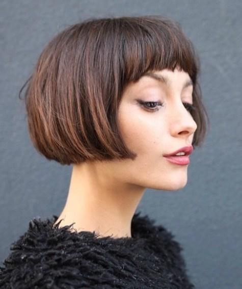 Lip-Length Hair With Half-Moon Bangs