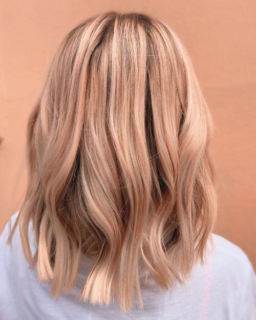 Pastel Peach-Toned Balayage Lob