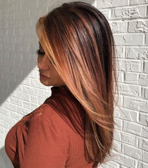Brown Hair With Rose Peach Highlights