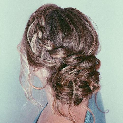 Side Braided Updo With Highlights