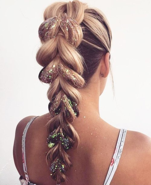 Dutch Braid With Glittery Loops