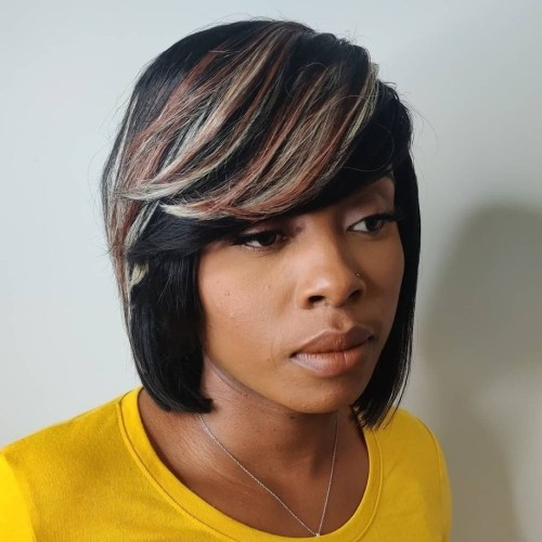 Oblique Bangs with Bright Highlights on Feathered Hair