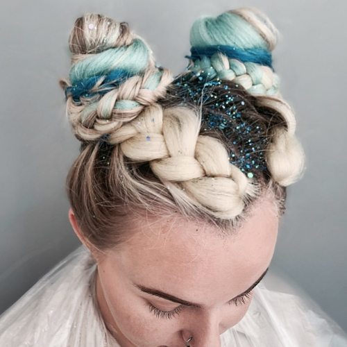 Blue Glitter in the Parting Between Two Braids and Space Buns