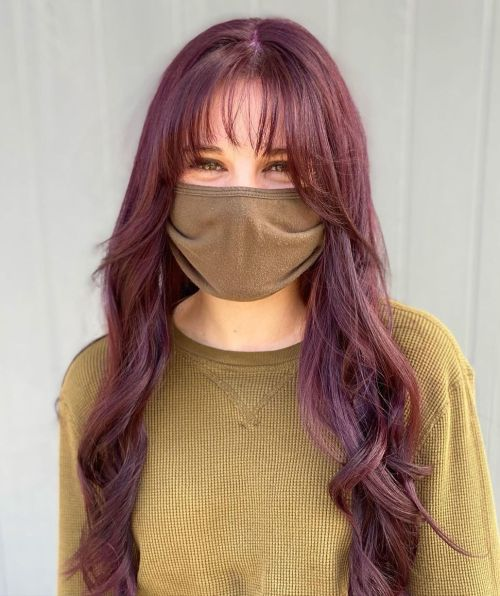 Long Purple Hair with Wispy Bangs