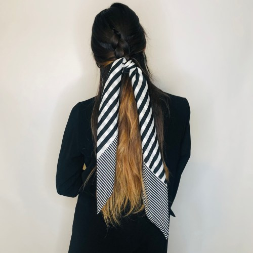 Hairstyle with Scarf Ends Left to Hang Loosely