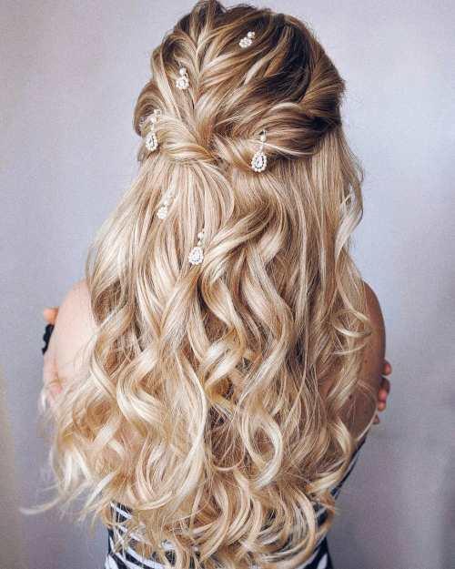 Textured Long Bridal Half Up Half Down Hairstyle