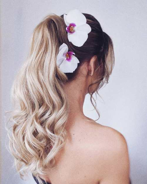 Wedding Ponytail Hairstyle with Flowers