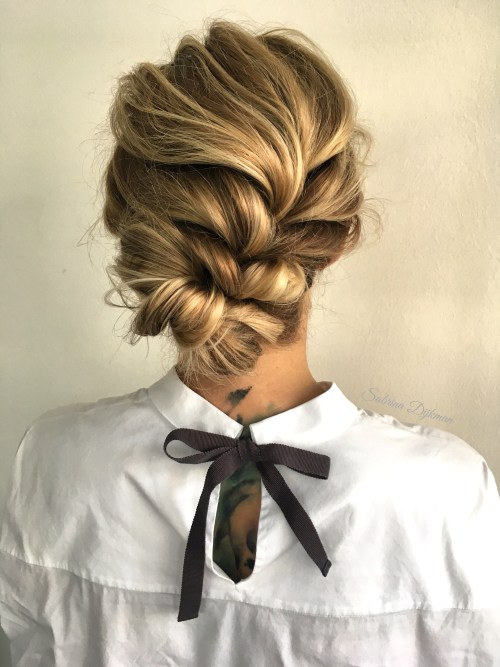Boho Braided Updo with Weave