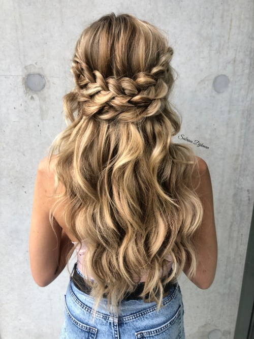 Half Up Half Down with Boho Braids