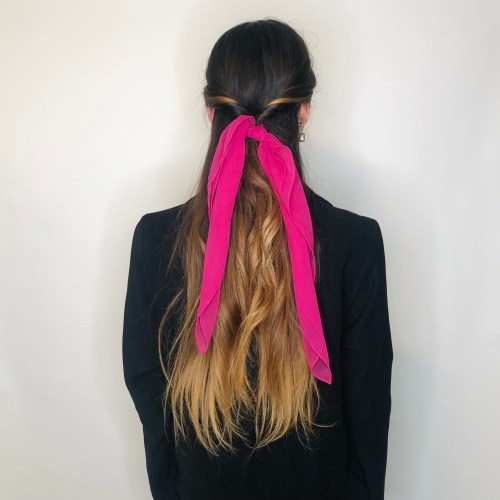 Half-Up Half-Down Hairstyle with a Scarf