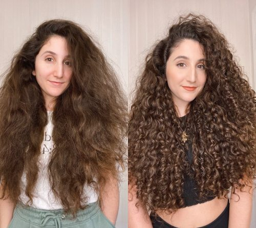 Curly Girl Before and After Using LOC Method with Gel