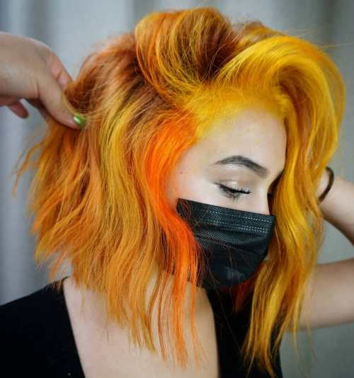 Natural Red Hair with Yellow and Orange Highlights