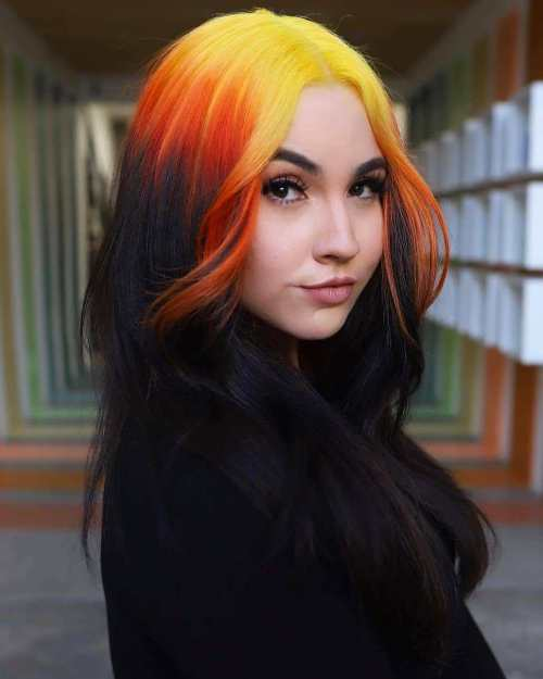Reverse Ombre with Orange and Yellow Fade