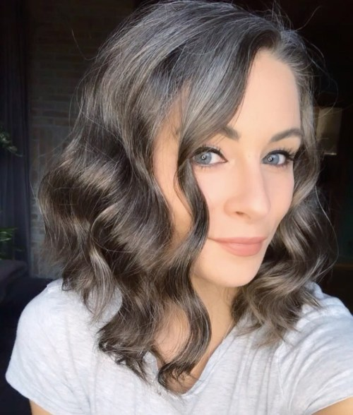Ashy Brown Wavy Lob for Growing Out Gray Hair