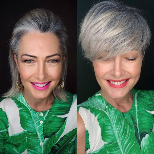 Long Pixie Cut to Transition to Gray Hair