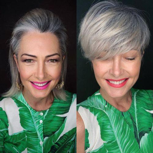 Long Pixie Cut para transição para cabelos grisalhos