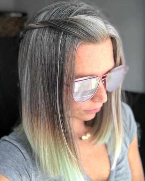 Lob penteado para cinza