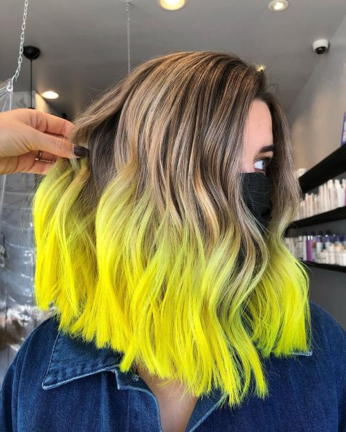 Long Bob With Yellow Ombre