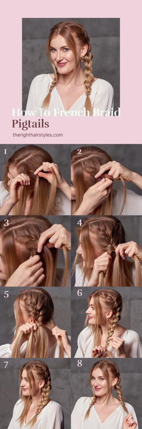 Pigtail French Braids Step by Step Tutorial