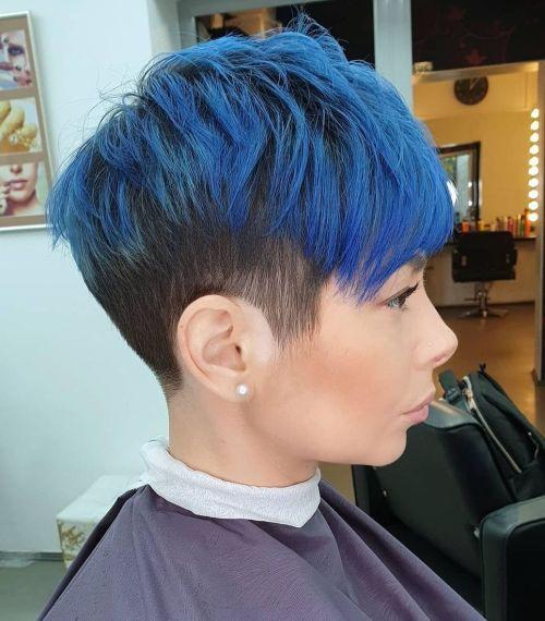 Bright Blue Highlights on Short Dark Hair