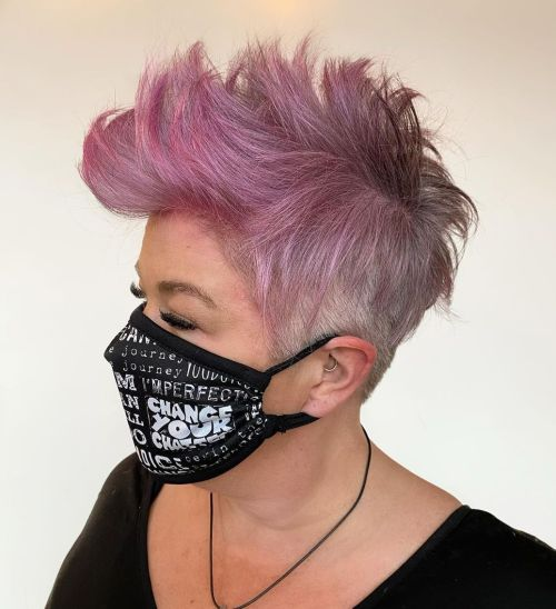 Textured Pink Mohawk on Gray Hair