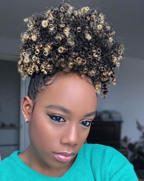 Blonde Highlights on Black Hair Put into a Pineapple