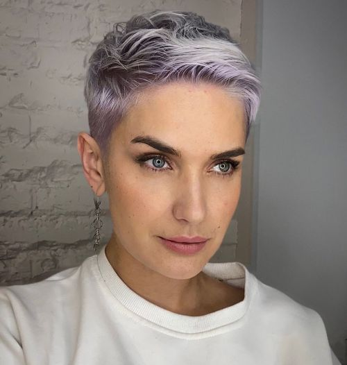 Platinum Short Haircut with Lavender Shades