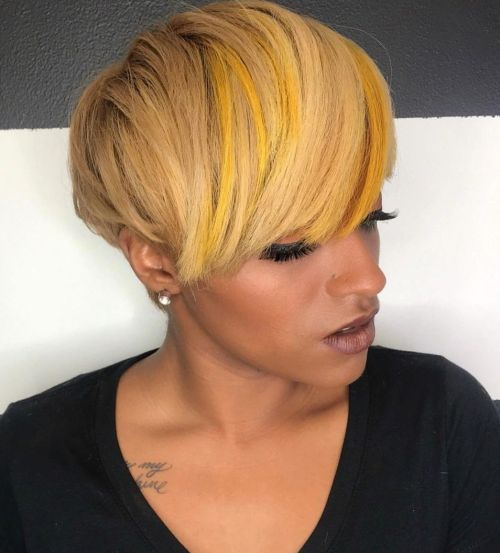 Golden Blonde Pixie with Long Bangs and Yellow Highlights