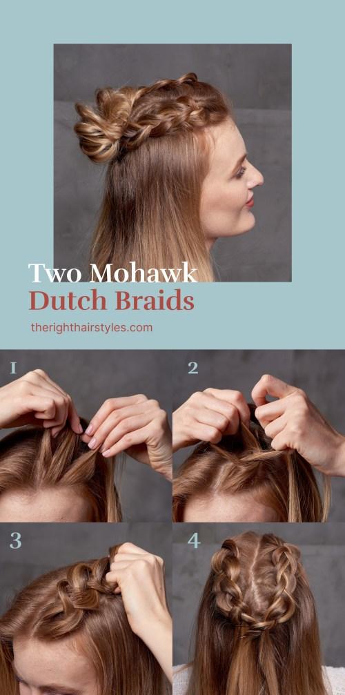 Mohawk Dutch Braids into a Bun Hairstyle Tutorial