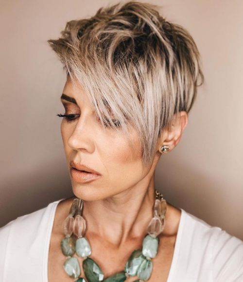 Sweeping Ash Blonde Pixie with Shadow Roots