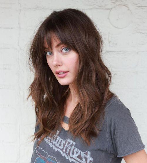Medium Chocolate Brown Hair with Wispy Bangs