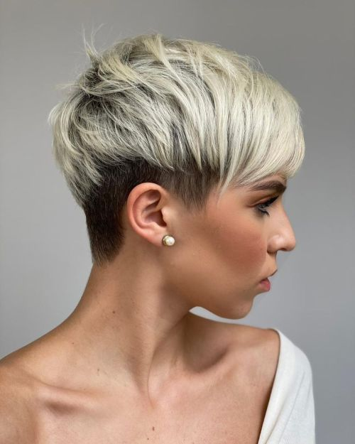 White Pixie with Dark Undercut Nape and Sides