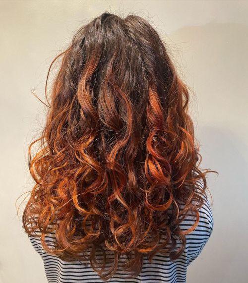 Copper Balayage on Long Wavy Hair