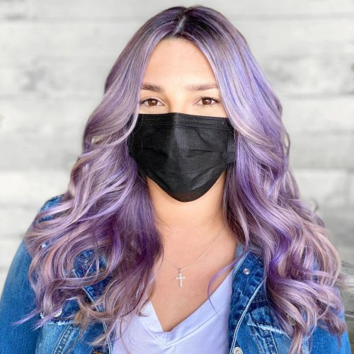 Long Pastel Color Hair with Shadow Roots