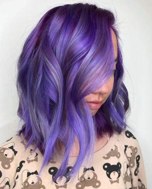 Balayage with Iris and Royal Purple Shades