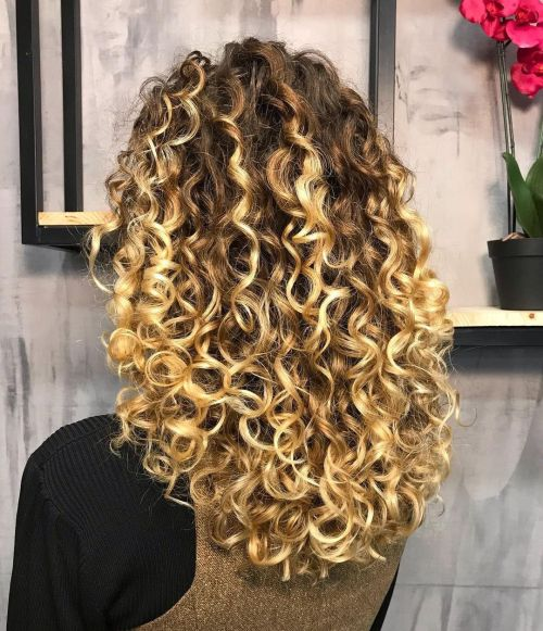 Curly Hair Ombre with Hand Painted Golden Blonde Coils