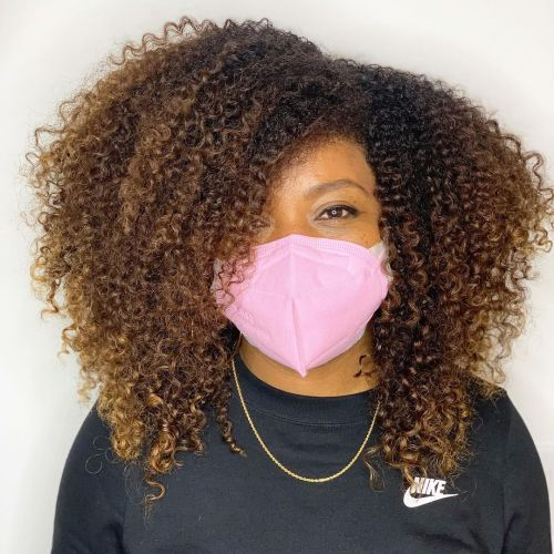 Light Brown Ombre on Kinky Hair