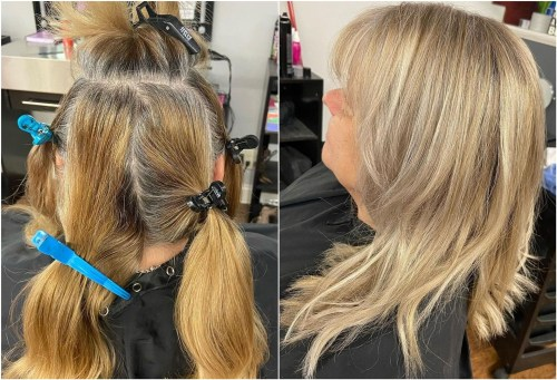 Disguising Gray with Dimensional Ash Blonde Color