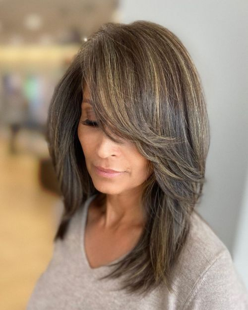 Ash Brown Hair with Highlights and Long Side-Swept Bangs