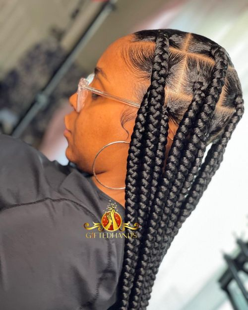 Large Box Braids with Square Parts